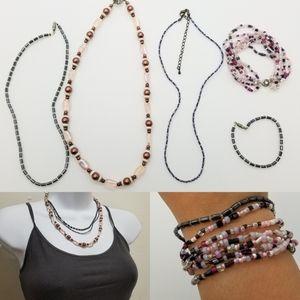 Iridescent Jewelrey Lot Necklaces and Bracelets